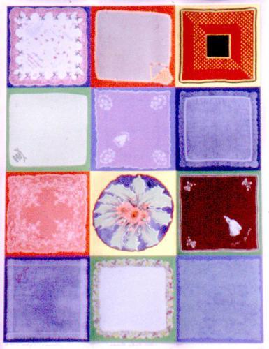 Miriam Schapiro (Canadian, 1923-2015). Una Furtiva Lacrima (A Furtive Tear),1996. Screenprint in twelve color grid paper,43 3/4x33in. Leepa-Rattner Museum of Art, St.Petersburg College, gift of the Dorothy Mitchell Collection,2005.48.3