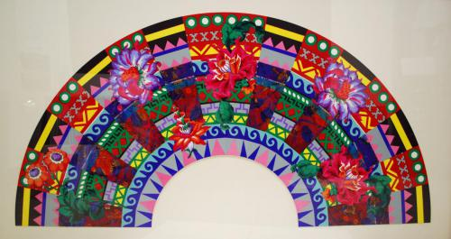 Miriam Schapiro (Canadian, 1923-2015). In the Heat of Winter, 1994. Screenprint and collated with hand cut printed flowers and fabric on Lenox rag paper, 33x62in. Leepa-Rattner Museum of Art, St. Petersburg College, gift of the Dorothy Mitchell Collection, 2005.48.1