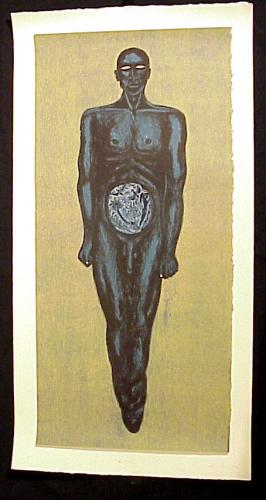 Alison Saar (American, b.1956). Man/Club 1993. Soft-ground etching, lithograph and woodcut onRivesBFK and Aqaba paper, 23x44 1/2in. Leepa-Rattner Museum of Art, Gift of Eckerd College Foundation through the St. Petersburg College Foundation, Inc. 2002.8a-b