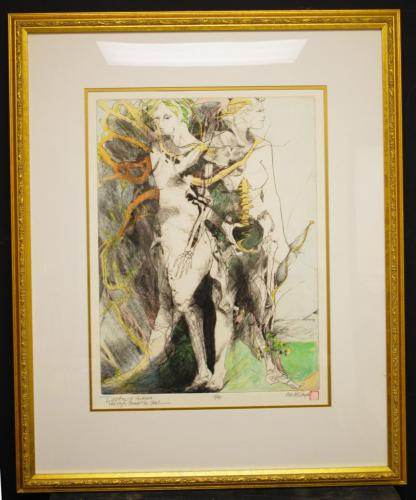 Lin Carte (American, 1947-2012). Daphne and Artemis, When Myth Proceeds the Soul, 1997-1998. Engraving on copper, 14x17 1/2in. Leepa-Rattner Museum of Art, St. Petersburg College, gift of Lin Carte 2010.157