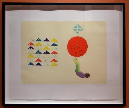 Hung Liu (Chinese/American, b. 1948). Permutation/Parasol, 1997. Aquatint and hard ground etching, ed. 5/20, 18x24in. Leepa-Rattner Museum of Art, St. Petersburg College, Gift of Jim and Martha Sweeny, 2017.11