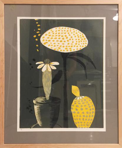 Marjorie Greene Graff (American, b. 1949) Blooming, 2015. Multicolor woodblock reduction print, 24x22 in. Leepa-Rattner Museum of Art, St. Petersburg College, gift of artist, 2017.21