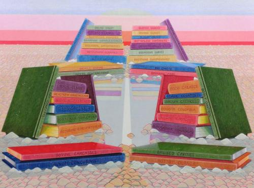 "Jennifer Guest""Library, B.C."", 2017Colored pencil and gouache on paper.30 x 40in."
