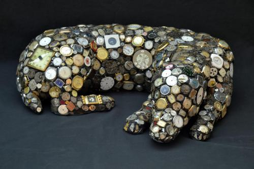 Mary Engel (American, b. 1963) Watch Dog, 1995. Mixed media on ceramics, 9 x 26 x 21in. Leepa-Rattner Museum of Art, St. Petersburg College, From the Gulf Coast Museum of Art Collection, GC1995.028