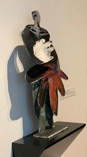 Esther Gentle (American, 1899-1991) Conversation Figures, 1985 (Three of five sculptures). Acrylic on cut and welded metal, 38x20x6in.  Leepa-Rattner Museum of Art, on loan from the St. Petersburg College Foundation, 1997.3.5.9