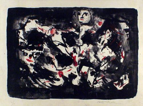 Esther Gentle (American, 1899-1991) Untitled (Abstract Figures), 1965. Lithograph, 9 1/2x 13 1/4in. Leepa-Rattner Museum of Art, on loan from the St. Petersburg College Foundation,1997.3.4.8