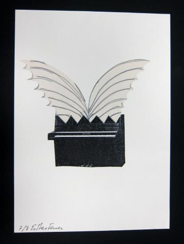 Esther Ferrer (Spanish, b. 1937) Dans le Cadre de L'Art (In the Framework of Art - Winged Piano), 1995. Silkscreen and collage,ed.7/8, 11 5/8 x 8 3/16in. Leepa-Rattner Museum of Art, St. Petersburg College, gift of Caroline Adams Byrd-Denjoy. 2011.18