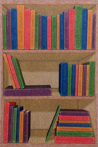 "Jennifer Guest""Library, A.D."", 2017Colored pencil and gouache on paper.20 x 30in."