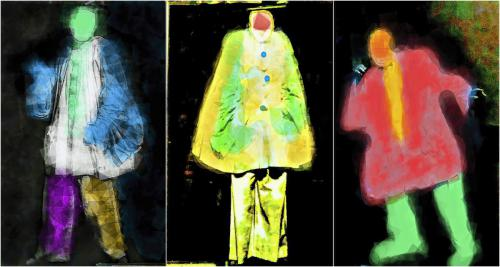 "Linda Berghoff""Clown Series 1 -3"", 2020Photograph, mixed media30 x 40in. each"