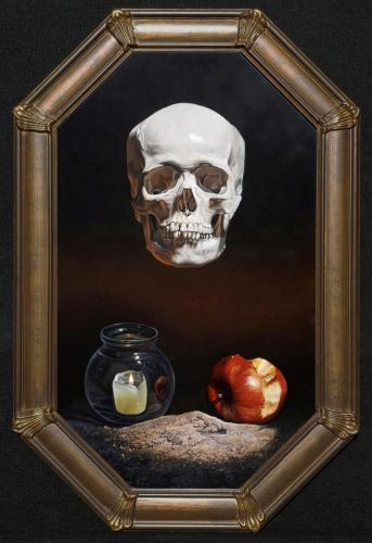 "Kevin Grass""Memento Mori"", 2016Acrylic on panel18 x 30in."