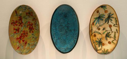 "Kim Kirchman""Untitled Platters"", 2020Wood fired soda glazed ceramics with slip transfer designs21 x 10 x 3in. each"